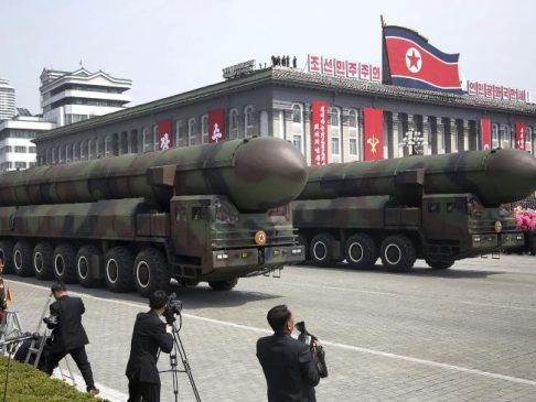 Missiles are paraded across Kim Il Sung Square during a military parade in Pyongyang. Picture: APSource:AP