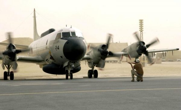FILE PHOTO: A U.S. Navy EP-3E Aries aircraft is directed by ground crew after a flight from Bahrain September 25, 2017. U.S. Air Force/Staff Sgt. Rhiannon Willard/Handout/File photo via REUTERS