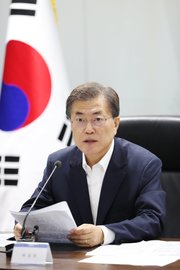 President Moon Jae-in at an emergency meeting of the National Security Council in Seoul, South Korea, on Saturday. Credit South Korea Presidential Office European Pressphoto Agency