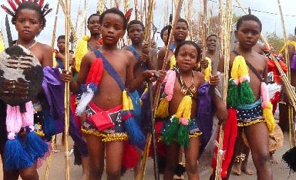 Swazi girls in the annual traditional dance
